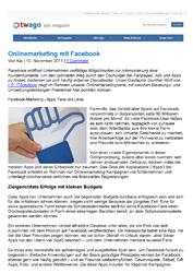 Fachartikel Onlinemarketing mit Facebook