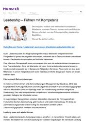 Publikation Leadership - Führen mit Führungskompetenz